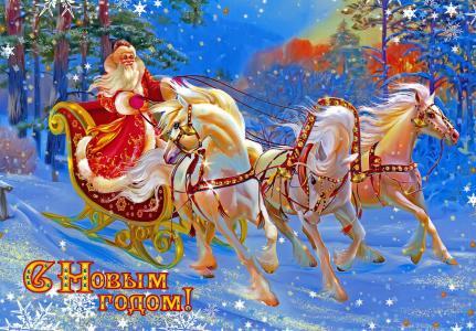 假日,新年,明信片,圣诞老人,三文鱼
