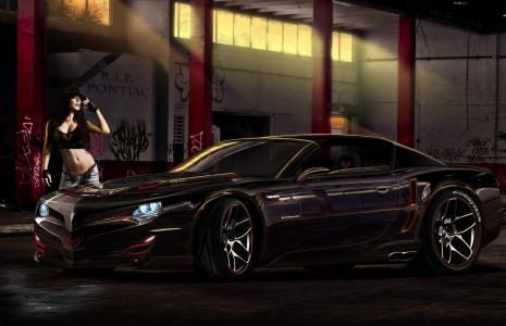 庞蒂亚克,超级跑车,黑暗的背景,女孩,图