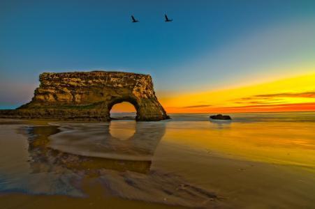 海,岸,海岸,岩石,拱门,夏时制,风景