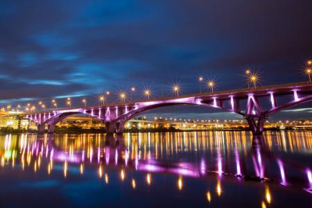 河,城市,桥,台北,夜,反射,灯,中国,台湾
