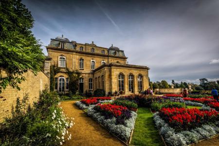 鲜花,设计,花园,英格兰,Silsoe,篱笆,房子,草坪