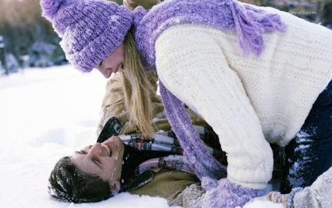 夫妇,爱,美丽,冬天