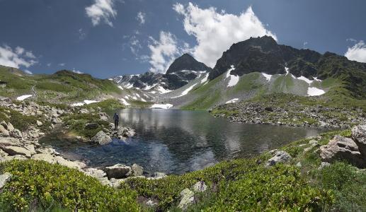 山,雪,天空,Karachaevo-Cherkessia,半色湖,高度2420米,德米特里(顿涅茨克)
