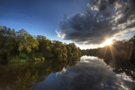 自然,河,美丽,光线,太阳