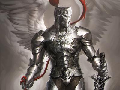 翅膀,武器,天使,剑,sakimichan,艺术,骑士,盔甲