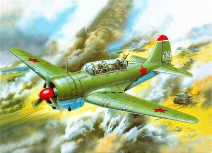 飞机,苏-2,艺术,和侦察员,附近,苏联