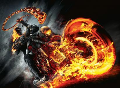 幽灵赛车,火,摩托车,头骨,鬼骑士