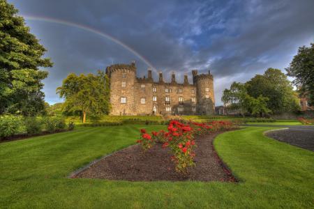 彩虹,基尔肯尼城堡,公园,爱尔兰,城堡,鲜花