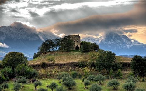 房子,山,自然
