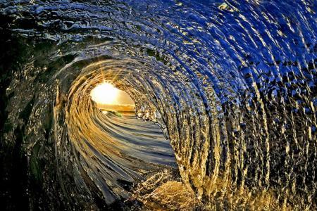 隧道,波浪,海,太阳