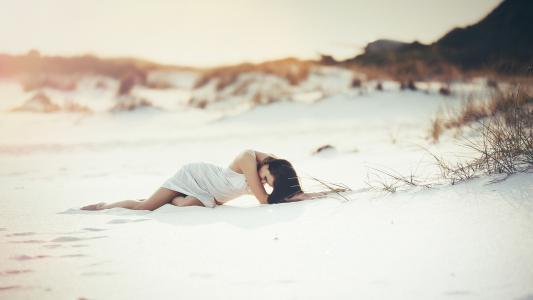 女孩,沙滩,海滩,黑发