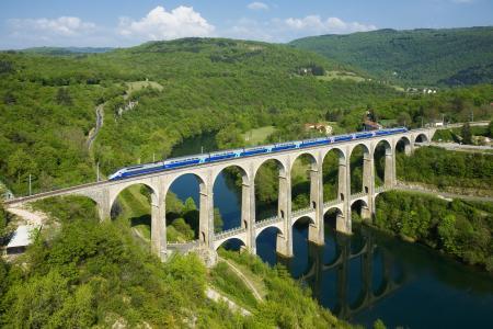 自然,山,法国,高速列车,火车,组成,河,桥,美丽
