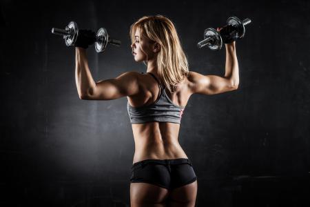 女孩,运动,哑铃,身材,肌肉,牧师
