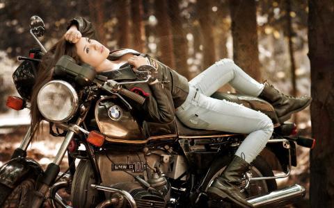 女孩,摩托车,宝马
