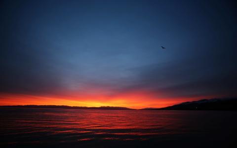 日出时的青海湖