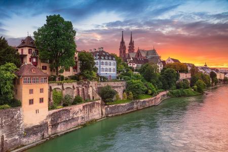 城市,日落,河,建筑,首页,瑞士,瑞士,莱茵河