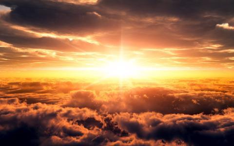性质,日出,太阳,云,美丽