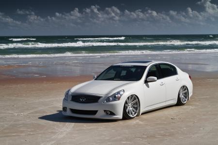 超级跑车,英菲尼迪,沙滩,海,云,美女