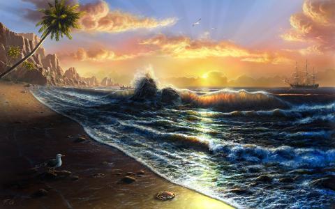图片,艺术,工作,岸,沙滩,帆船,海,波浪,美丽,天空,太阳,螃蟹