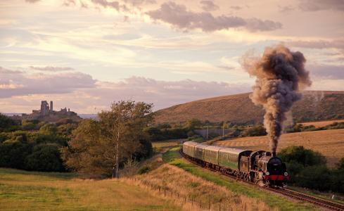 英国,性质,蒸汽机车,组成,机车,桥,城堡,天空,烟雾