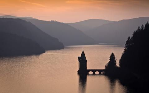 性质,湖,美丽,超级照片