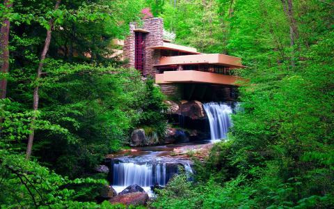 房子,森林,树木,河流,瀑布