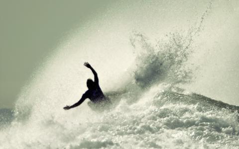 夏天,运动,冲浪,水,波,海洋,海