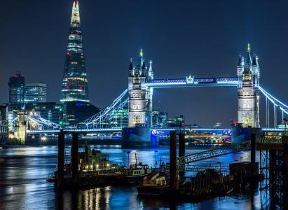英格兰,伦敦,城市,夜,灯,照明,桥,河,建筑物,美女
