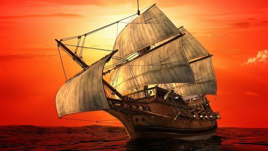 船,旗鱼,艺术,photoshop,工作,海,天空,云,日落,美丽