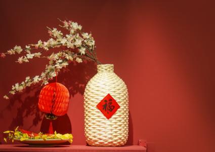春节中国红喜庆过年静物摄影