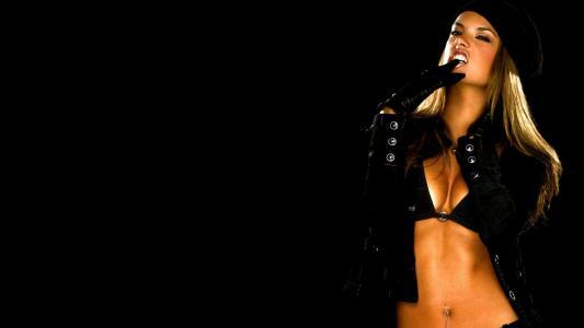 Alessandra Ambrosio,性感,模型,脸,看,美女,图,情绪,手套,夹克,海绵,头发,贝雷帽