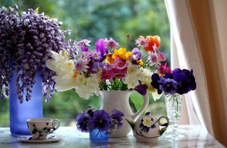 陶瓷,水罐,花束,杯子,玻璃,窗户,玻璃