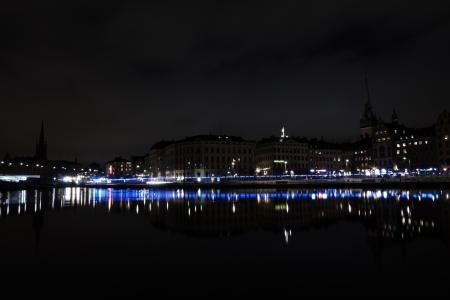 晚上,斯德哥尔摩,城市