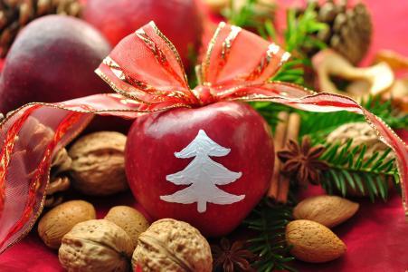 表,装饰,丝带,假期,苹果,弓,新的一年