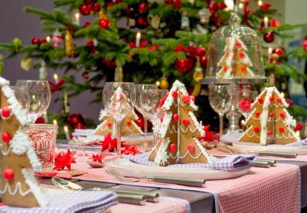 圣诞树,表,新年,烤,甜,装饰