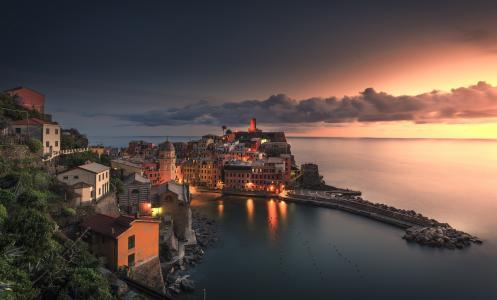 五渔村,意大利,意大利,五渔村,韦尔纳扎,韦尔纳扎,湾,房屋,天空,云