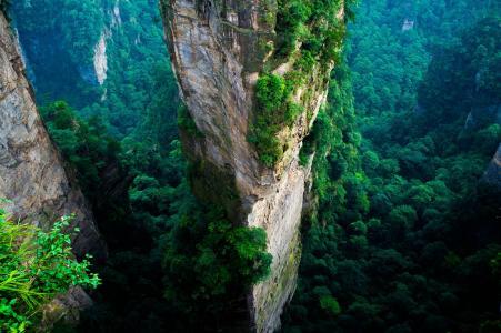 中国,悬崖,山,绿色,夏天,自然,景观,鸟瞰图