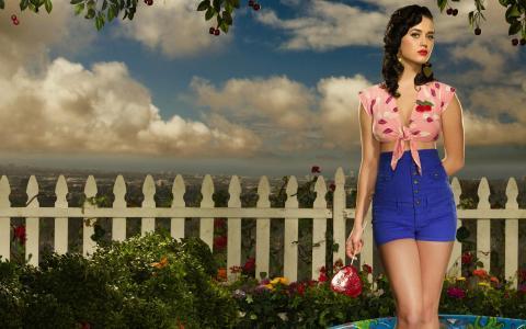 凯西·佩里,歌手,黑发,鲜花,糖果,姿势,天空,云