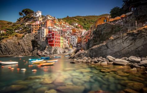 意大利,房子,湾,船,利古里亚海岸,里奥马焦雷,天空,岩石,五渔村