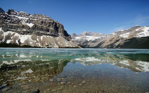 山,湖,冰,冬天,班夫国家公园,加拿大