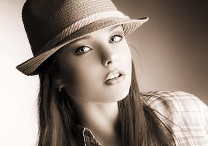 年轻的女士,ups,性感,脸,看,眼睛,头发,帽子,美容