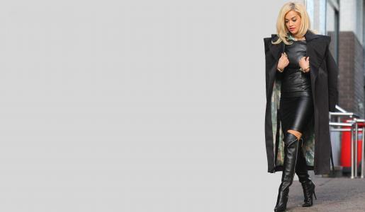 丽塔·奥拉,年轻的女士,性感,哎呀,图,外套,靴子,礼服,背景