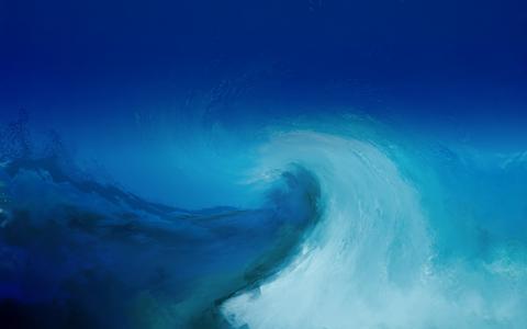 背景,波,质地,蓝色,绘画,蓝色