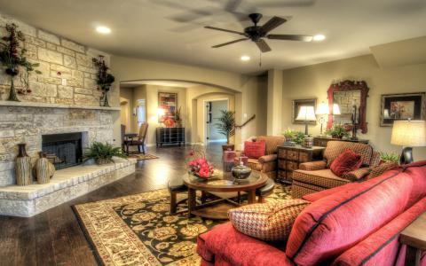 壁炉,扶手椅,沙发,客厅,表,室内