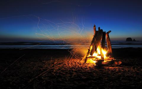 情绪,宏观,自然,海滩,风景,篝火,浪漫