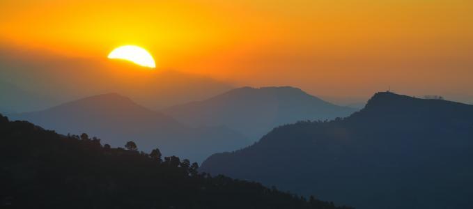 太阳,山,早晨,天空