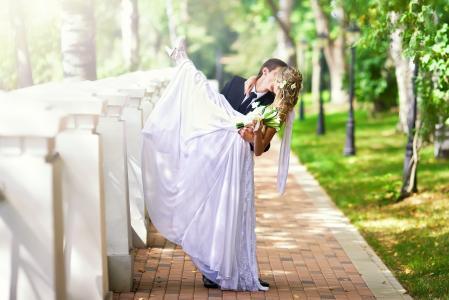 心情,礼服,夏天,花束,新娘,婚礼