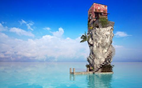 海洋,房子,岩石
