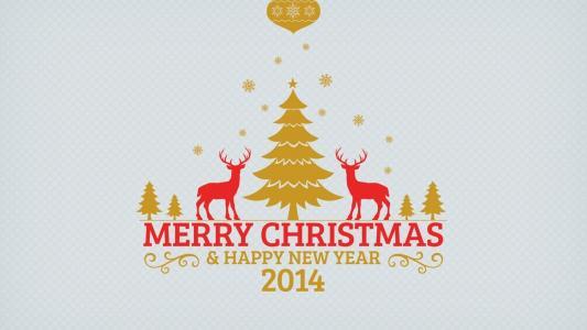 新的一年,2014年,圣诞快乐,圣诞树,鹿,雪花