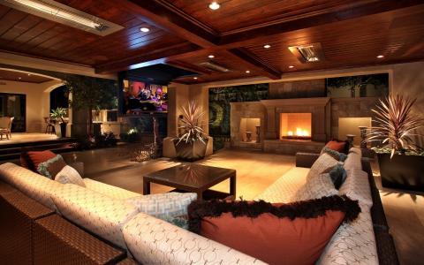 灯,木材,壁炉,沙发,花瓶,室内,电视
